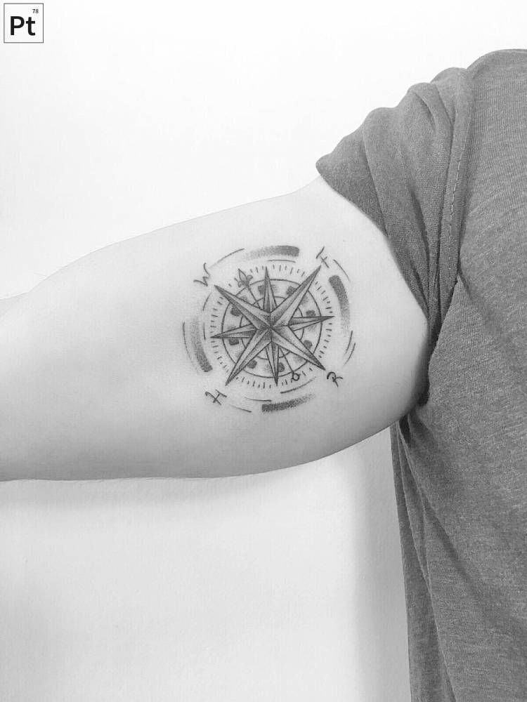 1761c1da7 25 Cool Inner Bicep Tattoo Ideas Compass Tattoos Arm, Small Compass Tattoo, Compass  Tattoo
