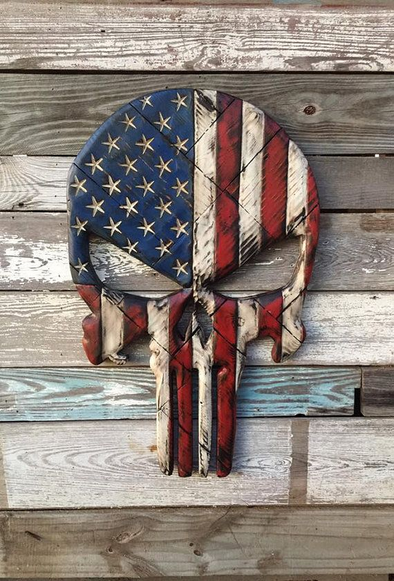 American Flag Skull Wall Decor By NEVERMOREcreation On Etsy Part 82