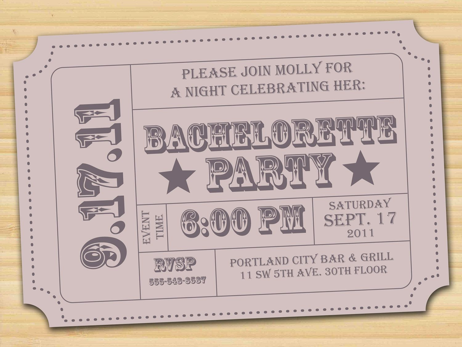 Bachelorette Party Invitation or Announcement Vintage inspired Ticket