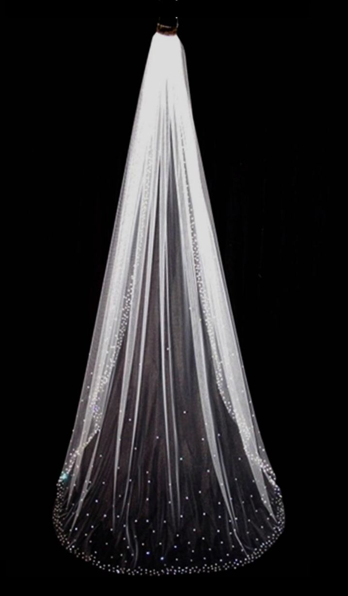 Rhinestone Beaded Edge Cathedral Length Wedding Veil