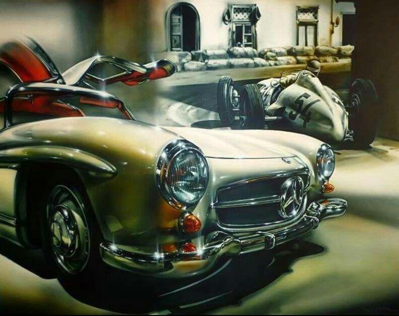 """A beautiful Mercedes-Benz 300SL, """"Silverarrow""""."""