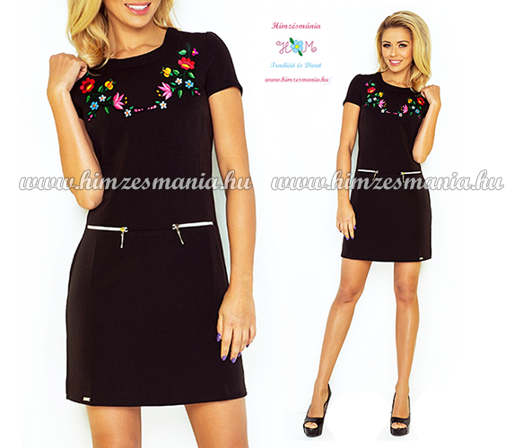 Fekete kalocsai mintás női ruha  gt  http   himzesmania.hu Kalocsai 6dd154c127