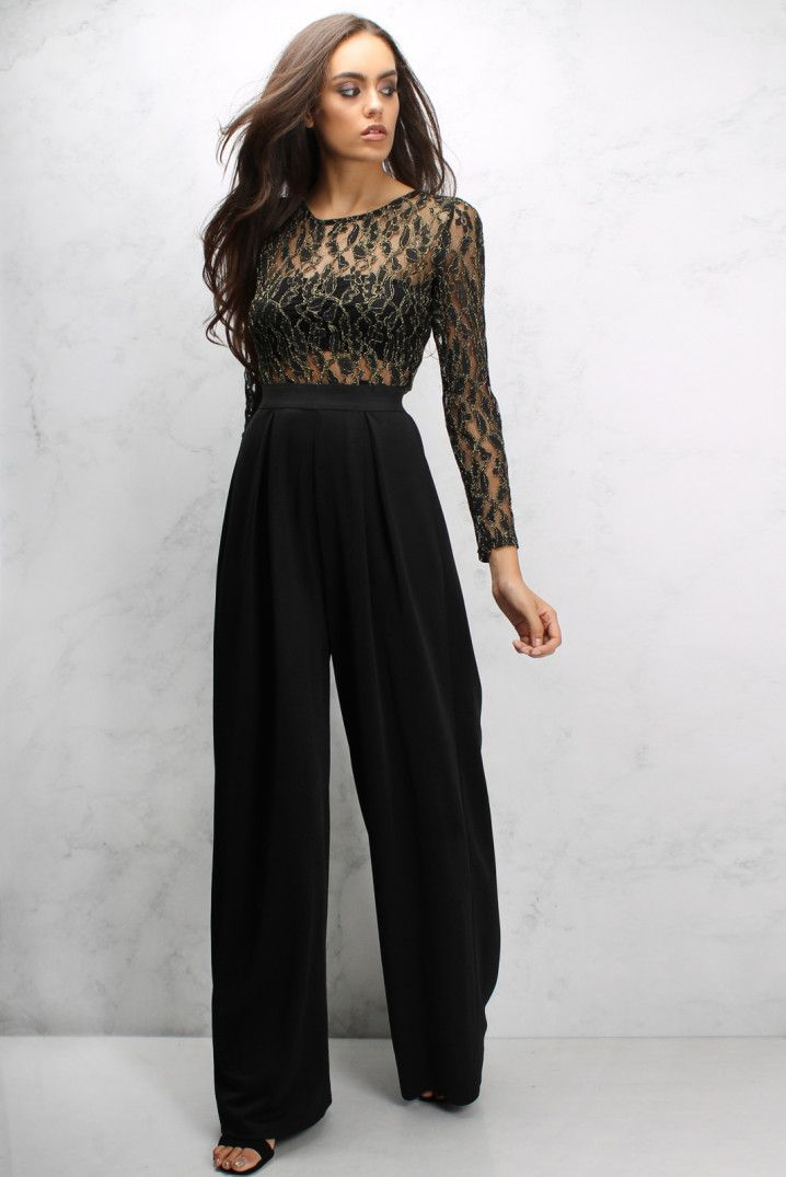 4cd2b5df1d77 Black and Gold Metallic Wide Leg Lace Top Jumpsuit