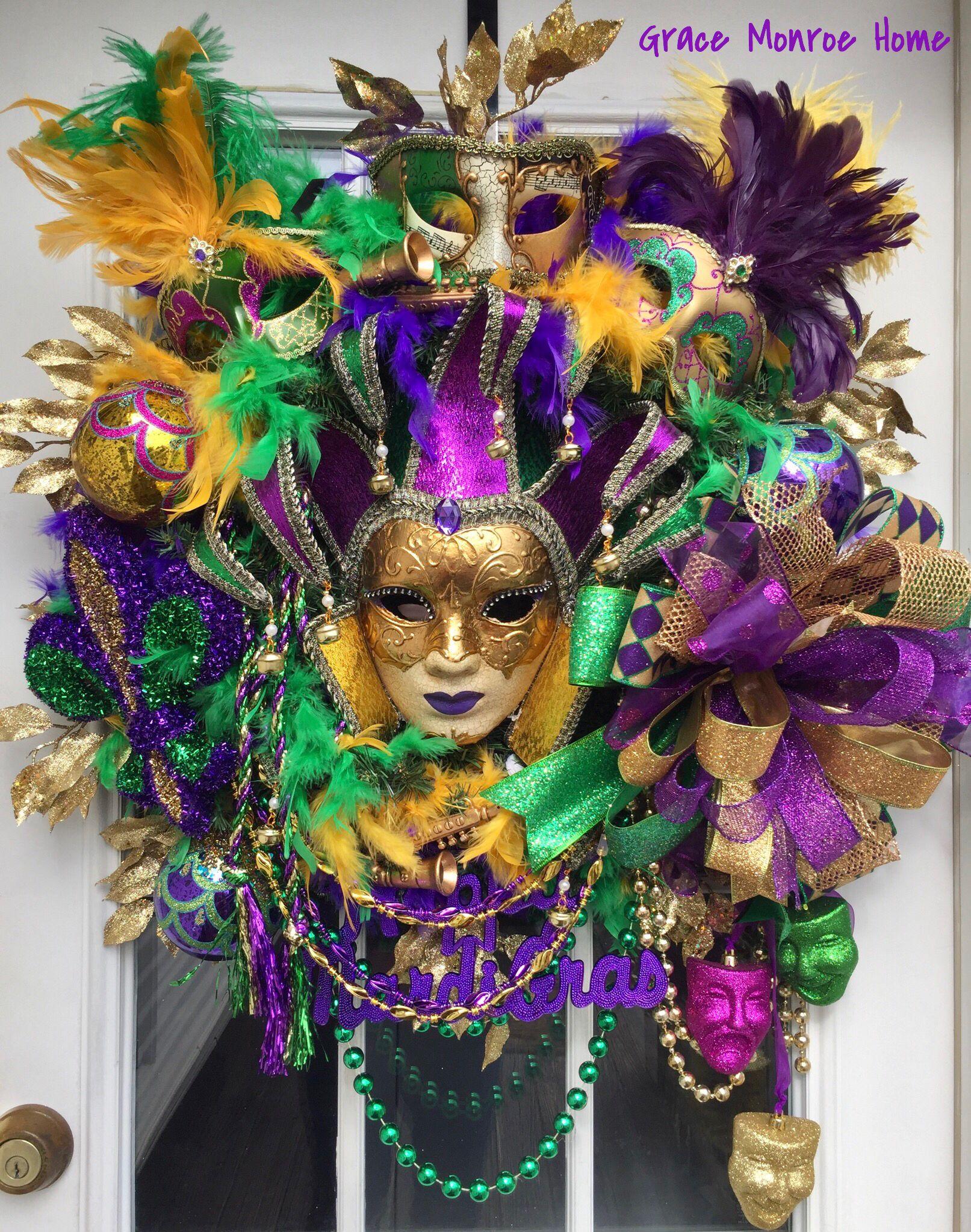 Learn To Make Wreaths Wreath Tutorials By Grace Monroe Home Mardi Gras Wreath Mardi Gras Decorations Mardi Gras Crafts
