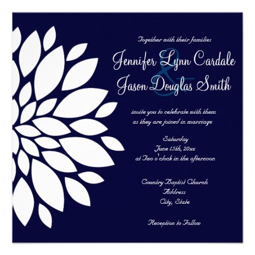 Navy Blue Square Wedding Invitations White Flower