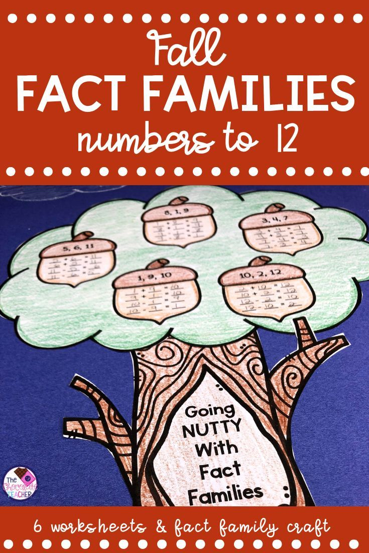 Fact Families Math Fall Themed Craft And Worksheets Math For First