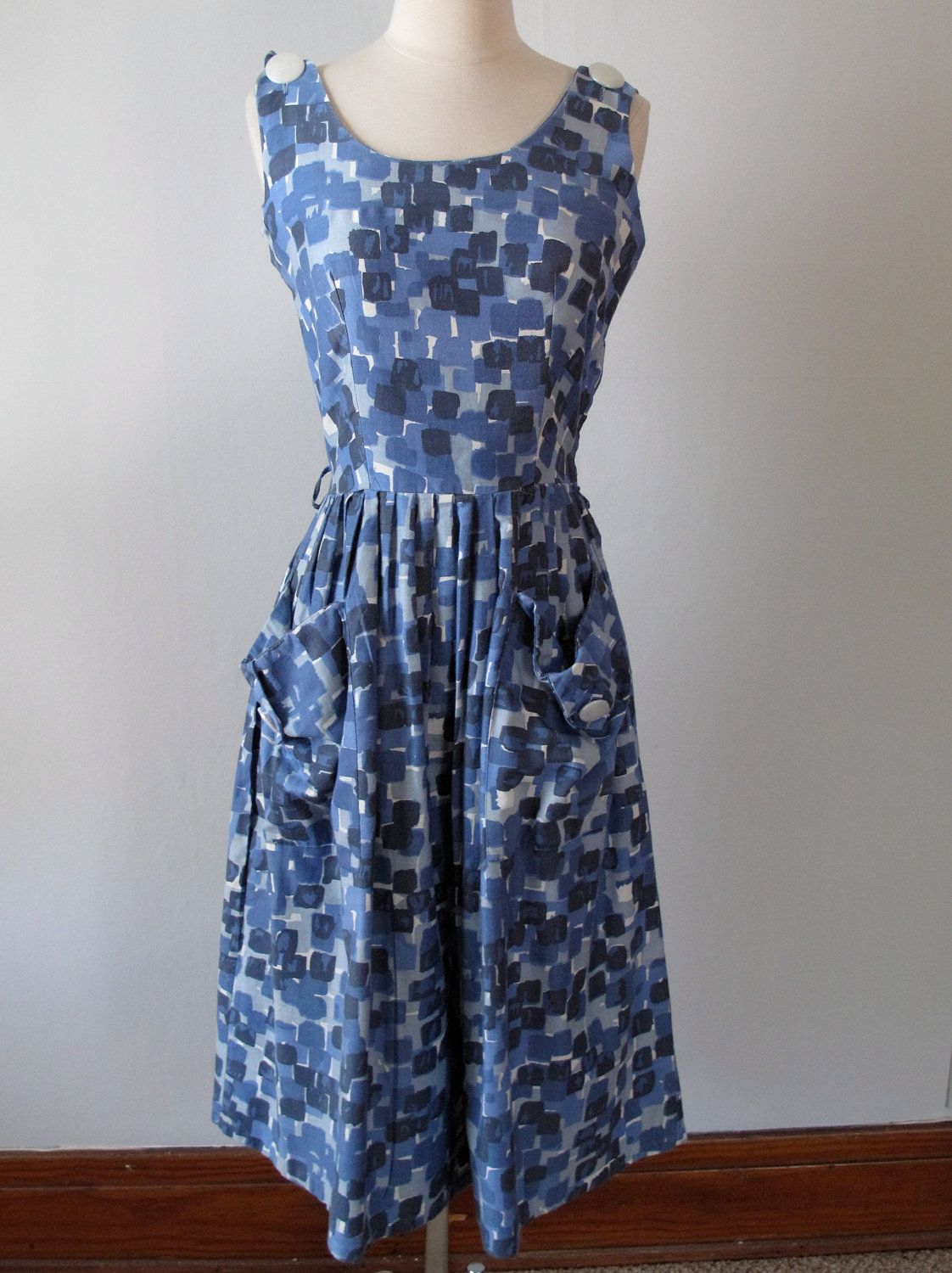 1950s Dress - Abstract Blue Squares - Cotton