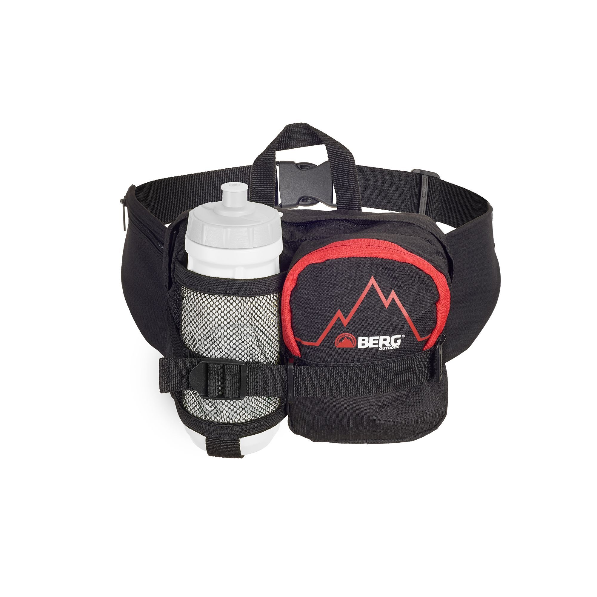 Basic waist bag with a bottle holder compartment, perfect for travelling or strolling around town.