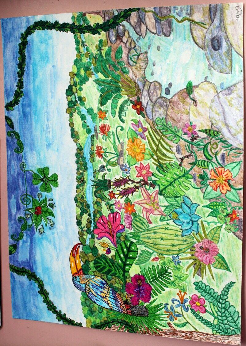 Dessin Illustration Au Crayon Aquarelle Et Feutres La Jungle
