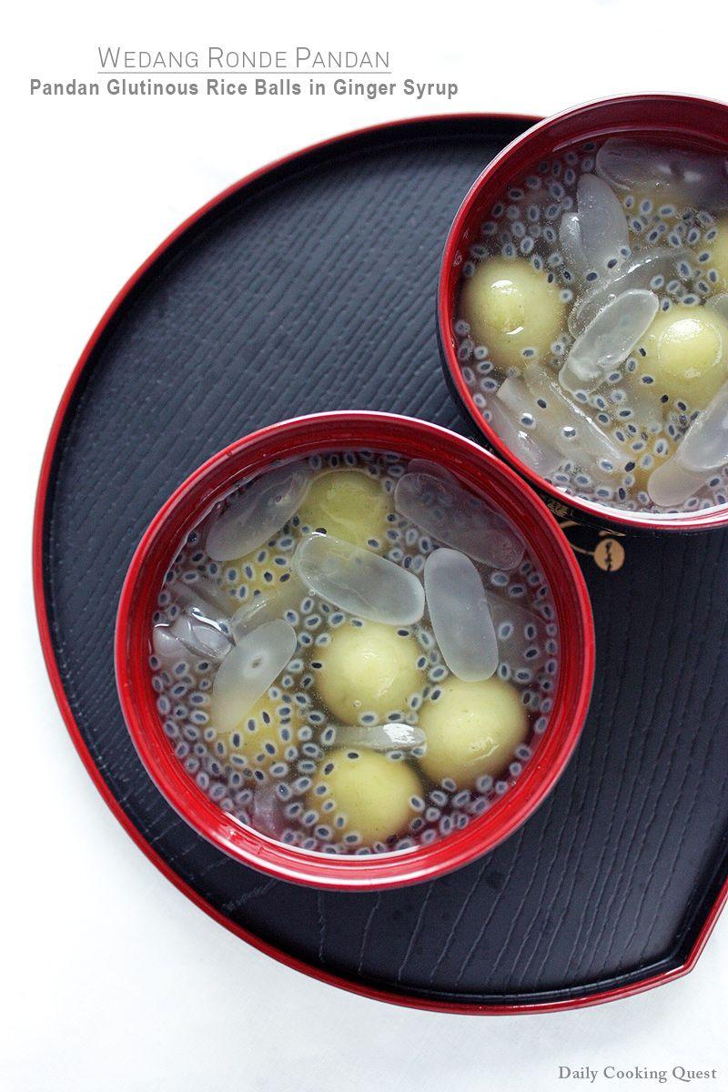 Wedang Ronde Pandan Pandan Glutinous Rice Balls In Ginger Syrup Recipe Glutinous Rice Sweet Soup Ginger Syrup