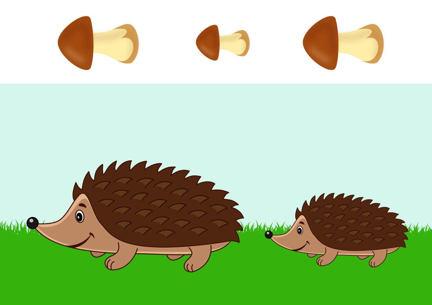 Ёжик и грибы, аппликация | Упражнения для детей