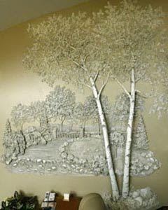 Необычный декор стен: роспись гипсом