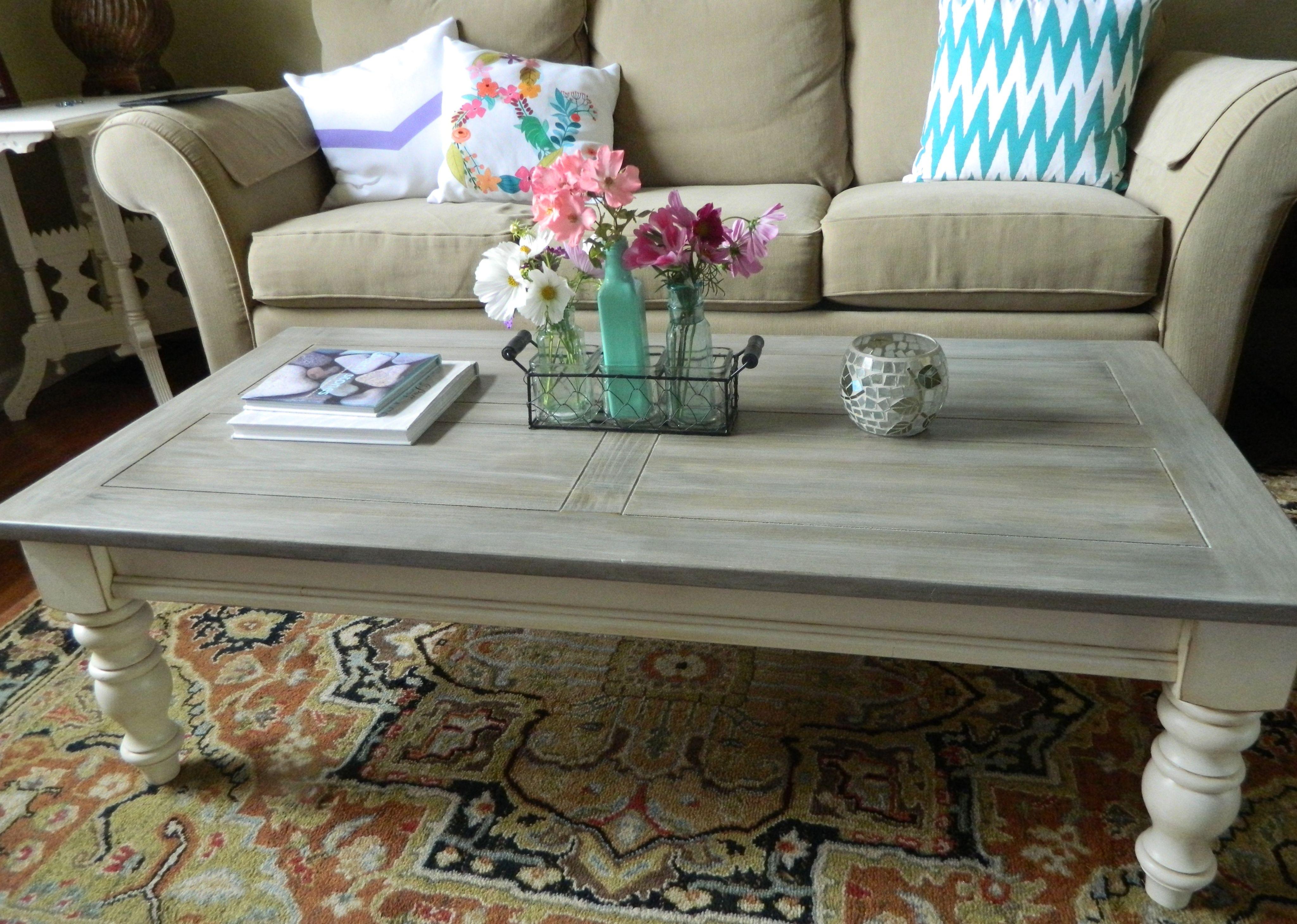 My 15 Thrift Store Pine Coffee Table Chalk Painted And Lightly