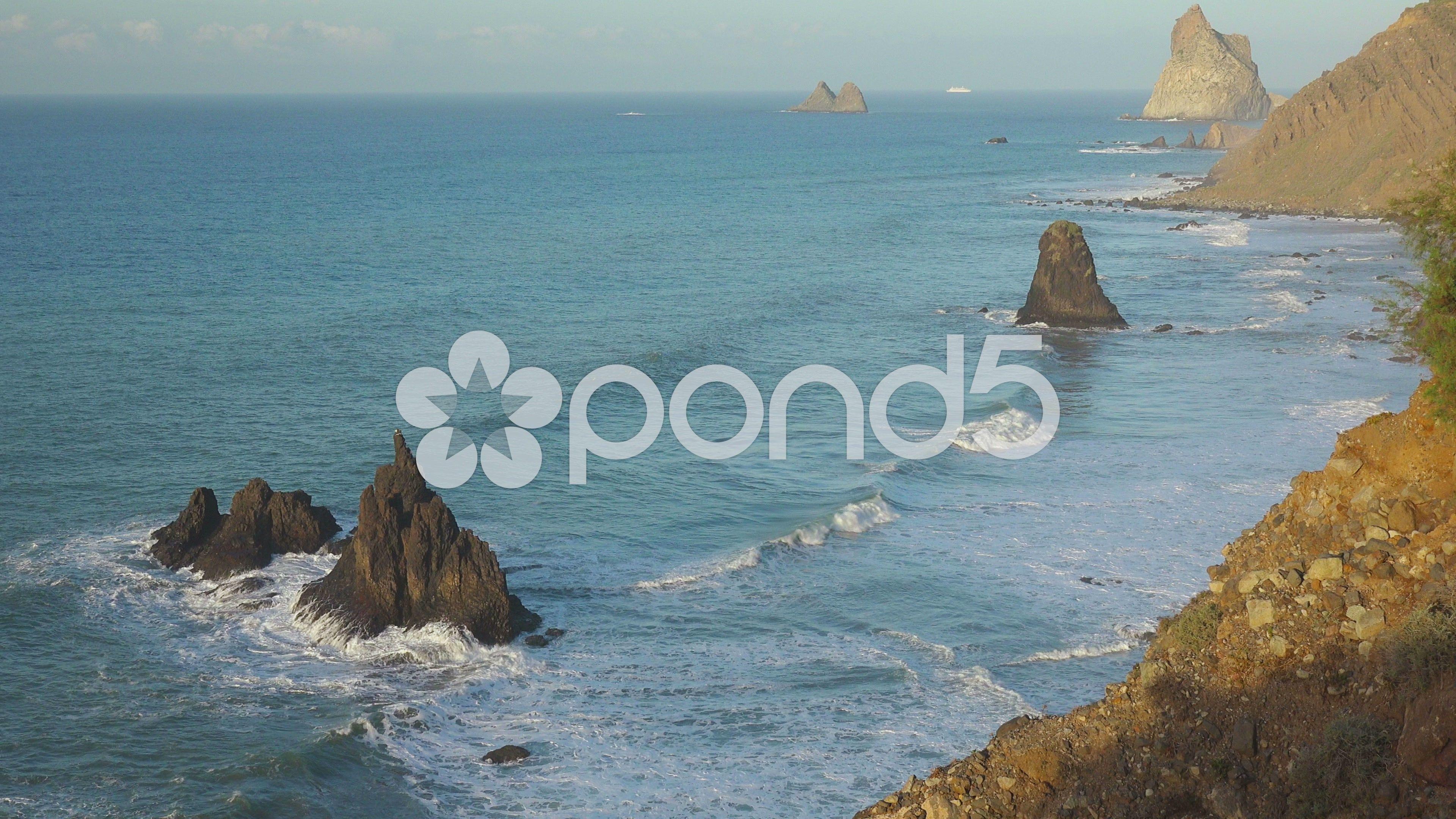 Nature Landscape Ocean Waves Rocky Coast Tenerife Canary Islands Stock Footage Waves Rocky Ocean Nature Tenerife Ocean Waves Canary Islands
