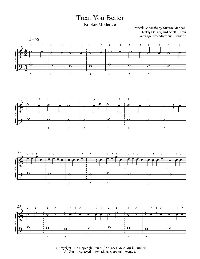 Treat You Better by Shawn Mendes Piano Sheet Music | Rookie