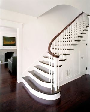 Best Curved Traditional White Risers Dark Treads Wood Rail 400 x 300
