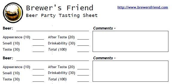 Beer Tasting  Rating Sheet  Score Card For  Beers  Home