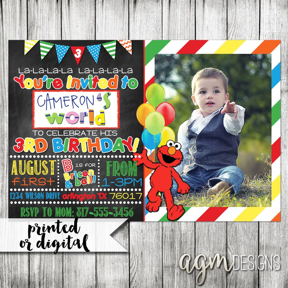 Elmo Invitation Elmo Birthday Invitation Elmo Chalkboard