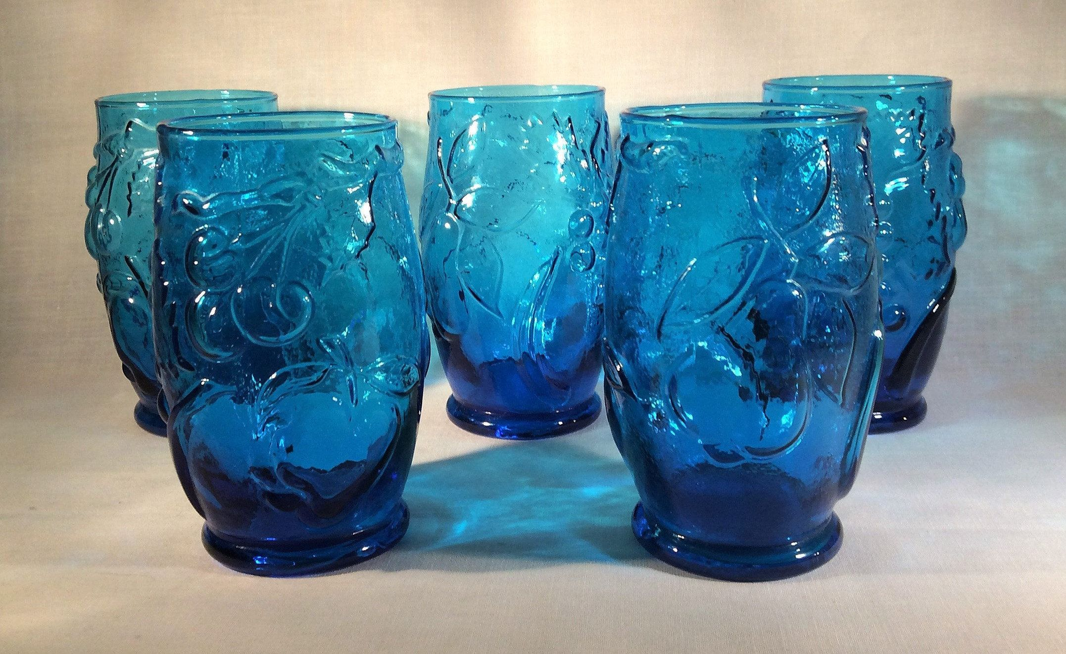 5 Mid Century Caribbean Blue Drinking Glasses With Embossed Fruit Grapes Cherries Apple Pear Cobalt Vintage Glassware Blue Drinking Glasses Fruit Design