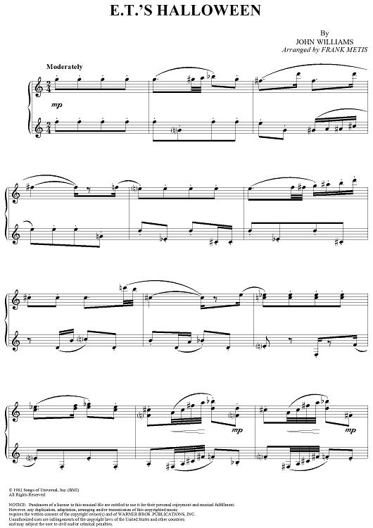 Ets Halloween Sheet Music By John Williams Sheet Music Pianos