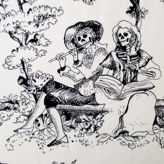 Fabric, The Romantics, Day of the Dead Skull Toile, Black and White, Alexander Henry, By the Yard