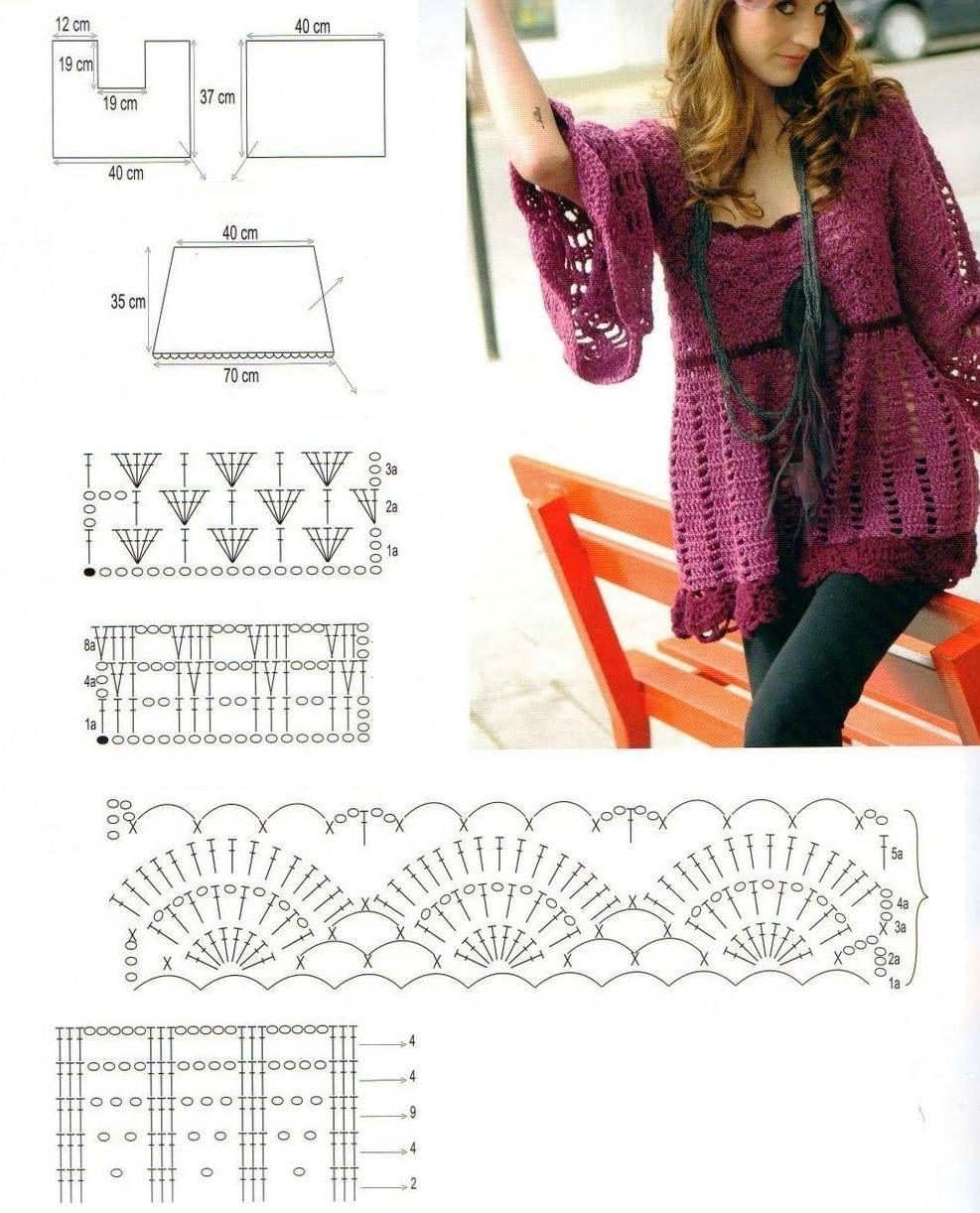 Tunica Vestido Patron - Patrones Crochet | Cosas para ponerse ...