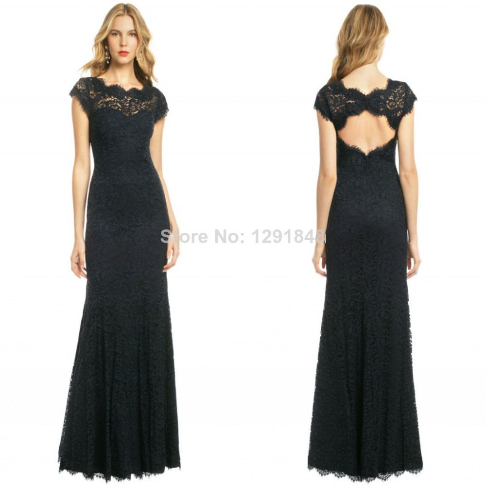 new style black bateau lace party dresses applique hollow back