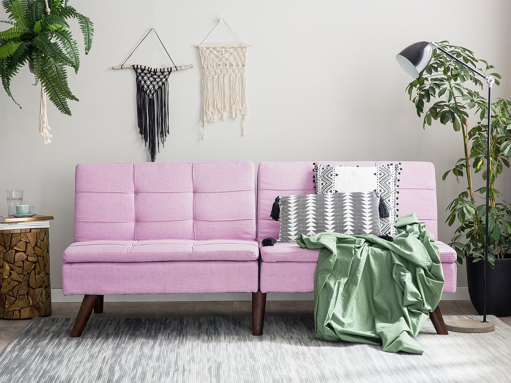 Upholstered Two Seater Sofa with Adjustable Backrest #pinksofa#sofas#sofaideas#sofalivingroom#