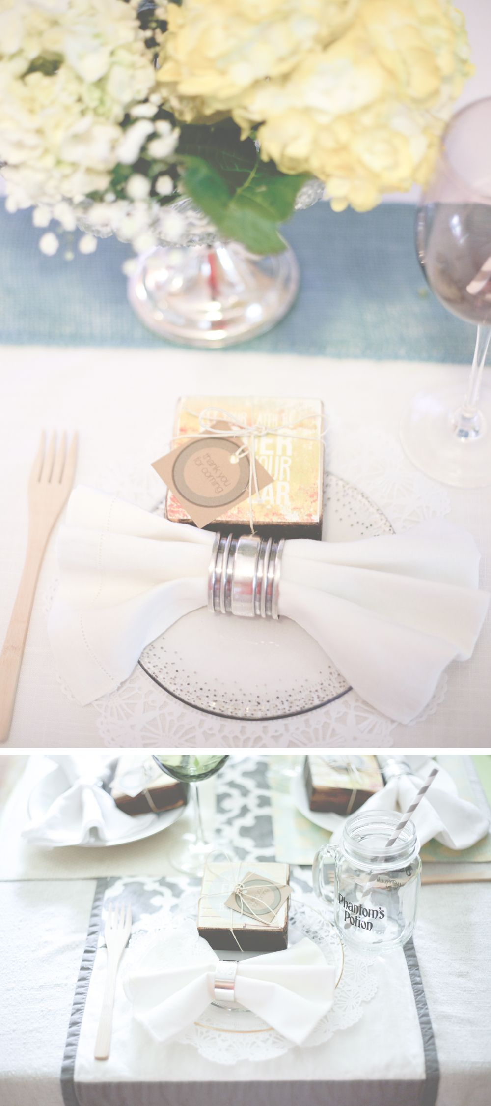 07 baby shower table setting vintage shabby chic party favors