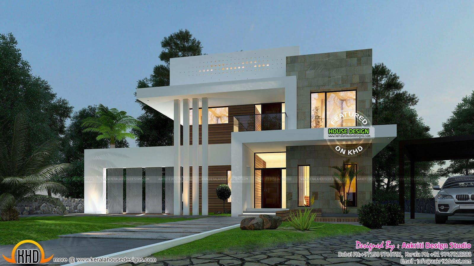 3 Bedroom Luxurious, Contemporary Style House Plan In 4035 Square Feet By  Aakriti Design Studio, Dubai U0026 Kerala