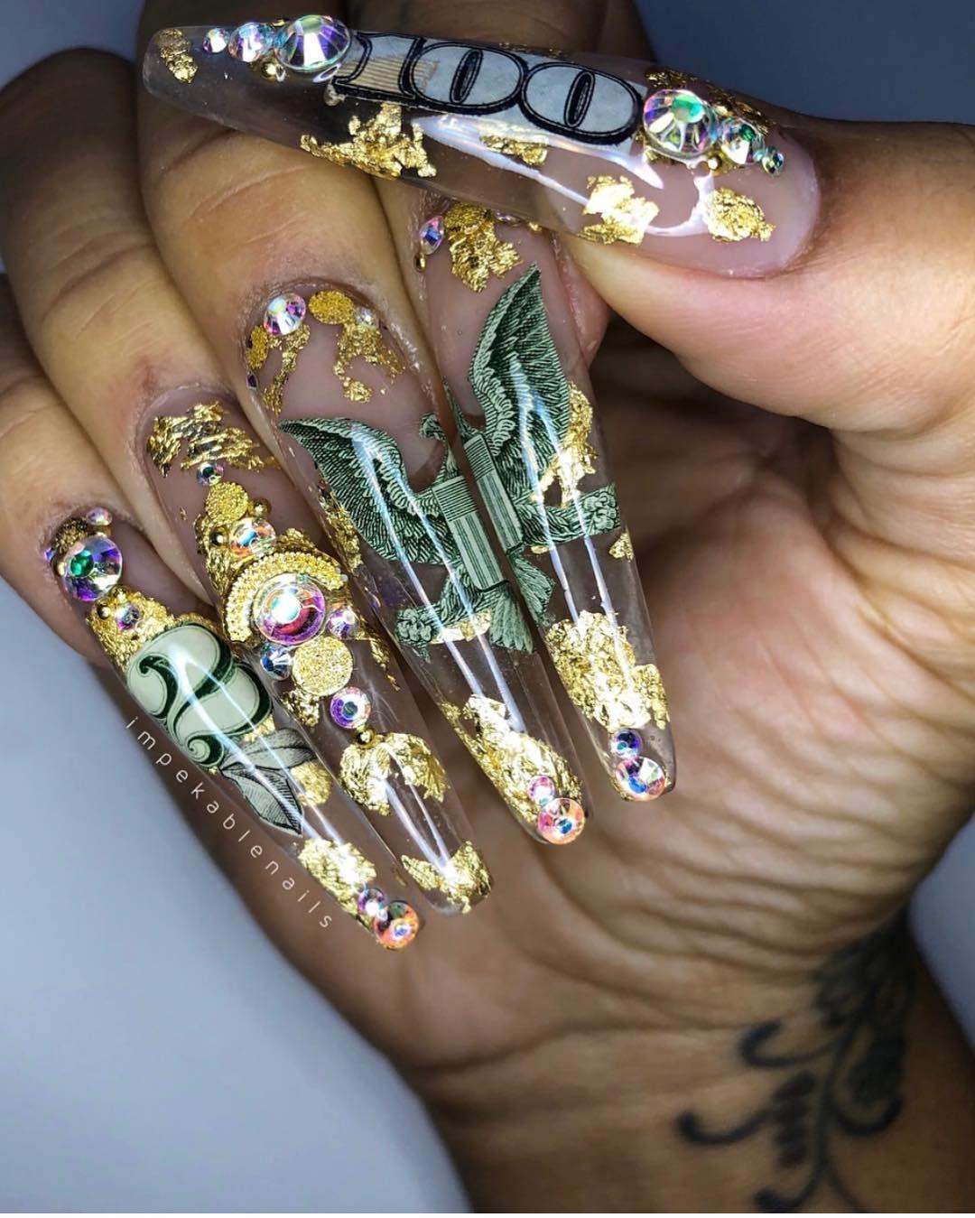 Extra Long Almond Nails With 100 Dollar Designs Money Designs On Almond Nails Long Almond Nails Ghetto Nails Long Acrylic Nails