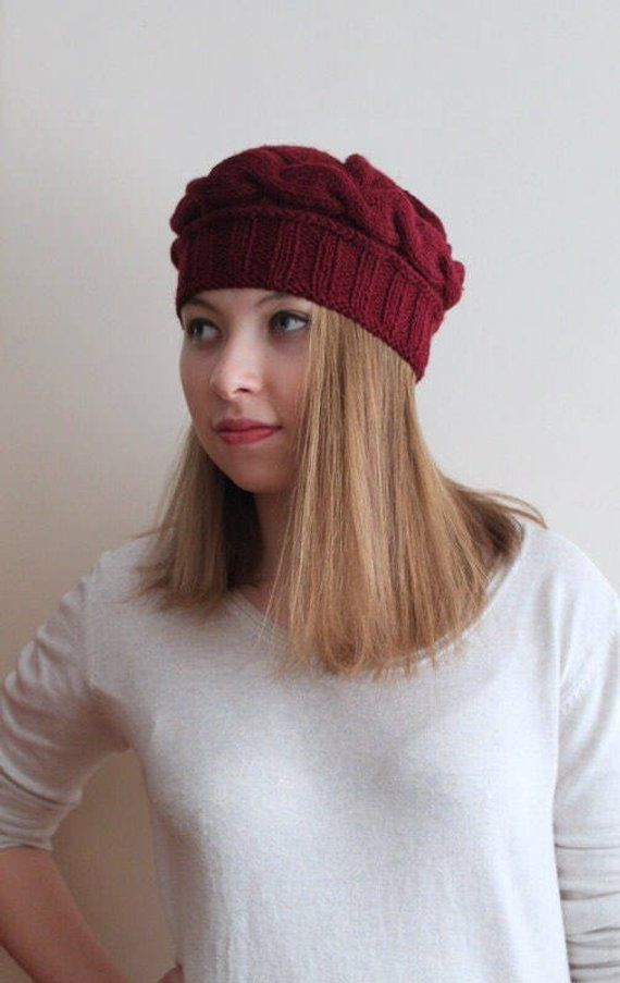 74f7556381045f Burgundy Cable Hat, Winter Beanie, Women Accessories, Girl Beret, Gift for  Her, Soft Beanie, Handkni