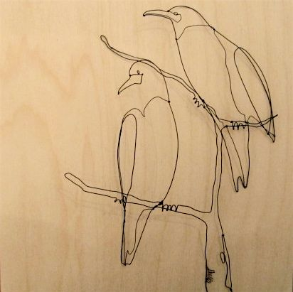 wire bird sculptures by Seattle artists Shelli Markee (available at Click Design That Fits)