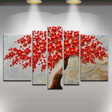 Alta calidad árbol rojo pintura al óleo abstracta moderna de la lona pintura 5 unidades pinturas murales sala de estar decoración de la…