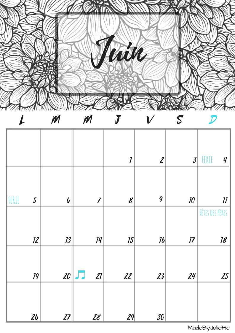 calendrier juin 2017 imprimes le calendrier pour. Black Bedroom Furniture Sets. Home Design Ideas