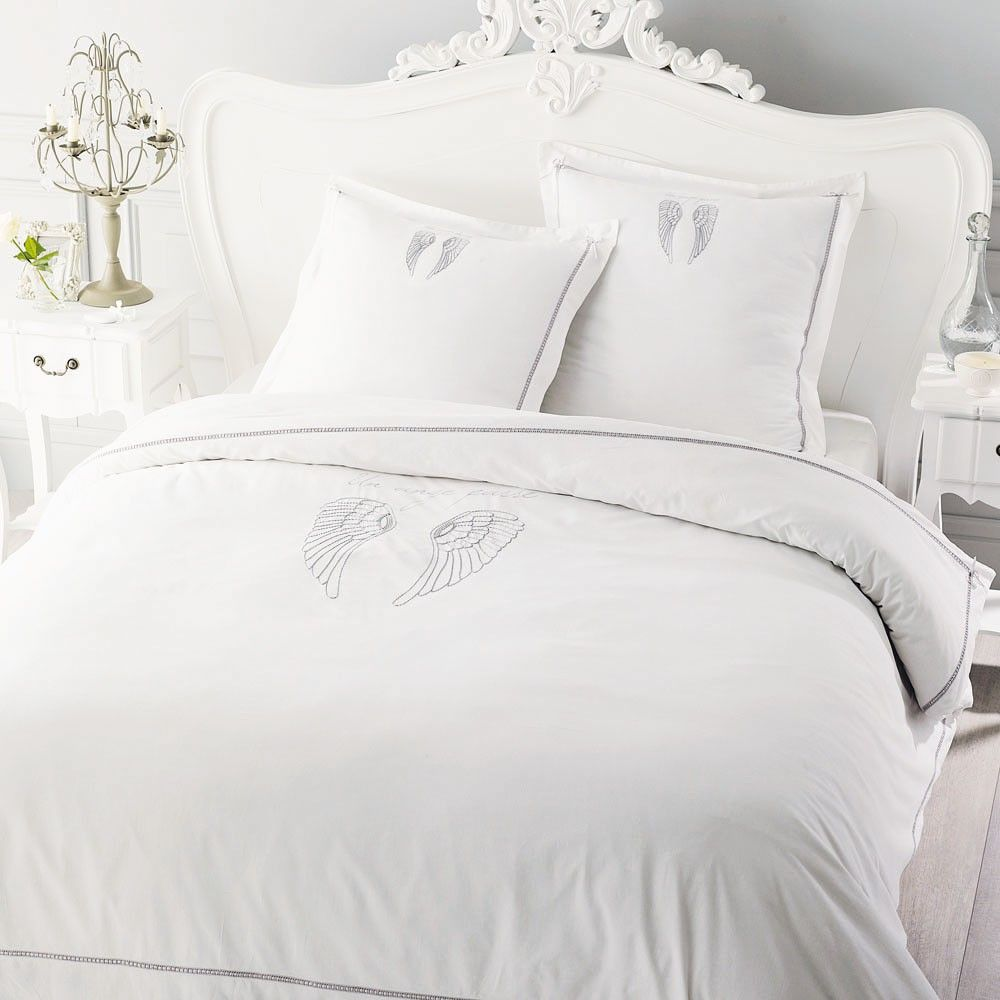 parure de lit 220 x 240 cm en coton blanche parure anges et coton blanc. Black Bedroom Furniture Sets. Home Design Ideas
