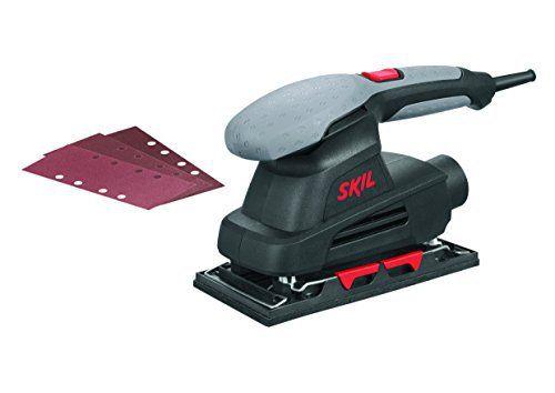 Skil 7338AA Ponceuse Vibrante (160W, 92 x 185 mm, Système Auto agrippant et par Étrier, Raccord pour Aspirateur, 3 Feuilles abrasives):…