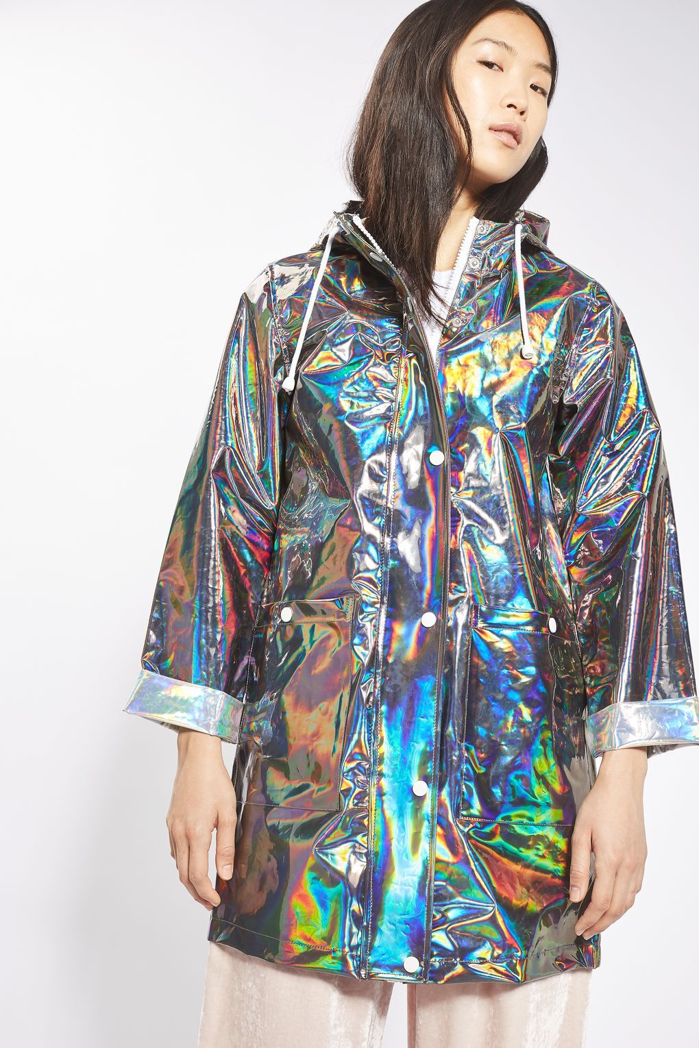 elegant appearance rich and magnificent promotion Longline Metallic Rain Mac | TopShop | Lightweight rain ...