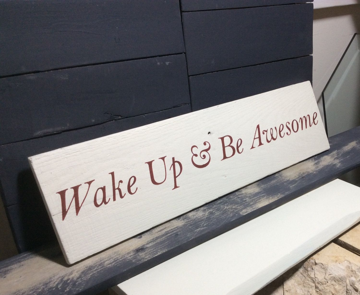 Rustic sign 'Wake up & Be Awesome', cottage decor, bedroom decor, family…