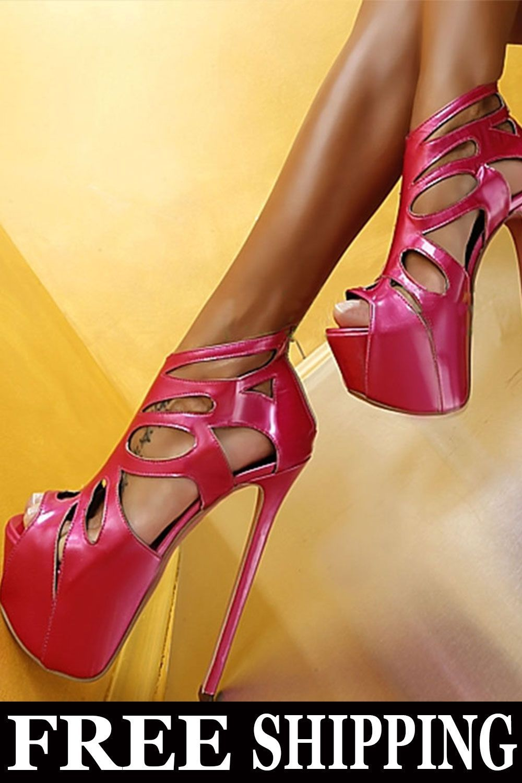 $ 48.49 Fashion PU Upper Chunky Heels Peep-toe Sandals