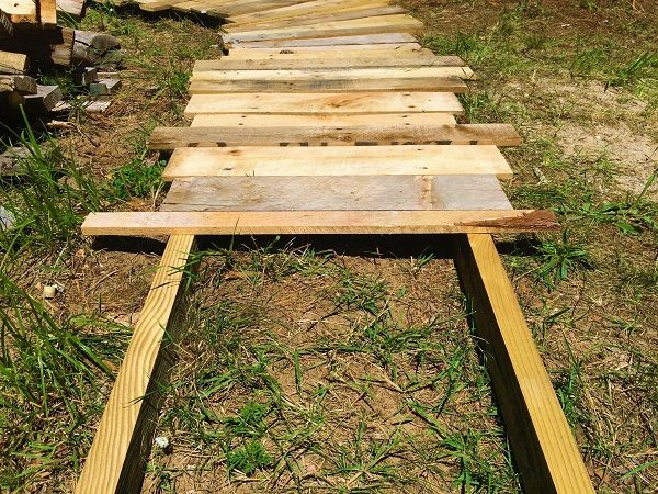 create this simple scrap wood walkway in your yard it 39 s a beautiful rustic touch for any. Black Bedroom Furniture Sets. Home Design Ideas
