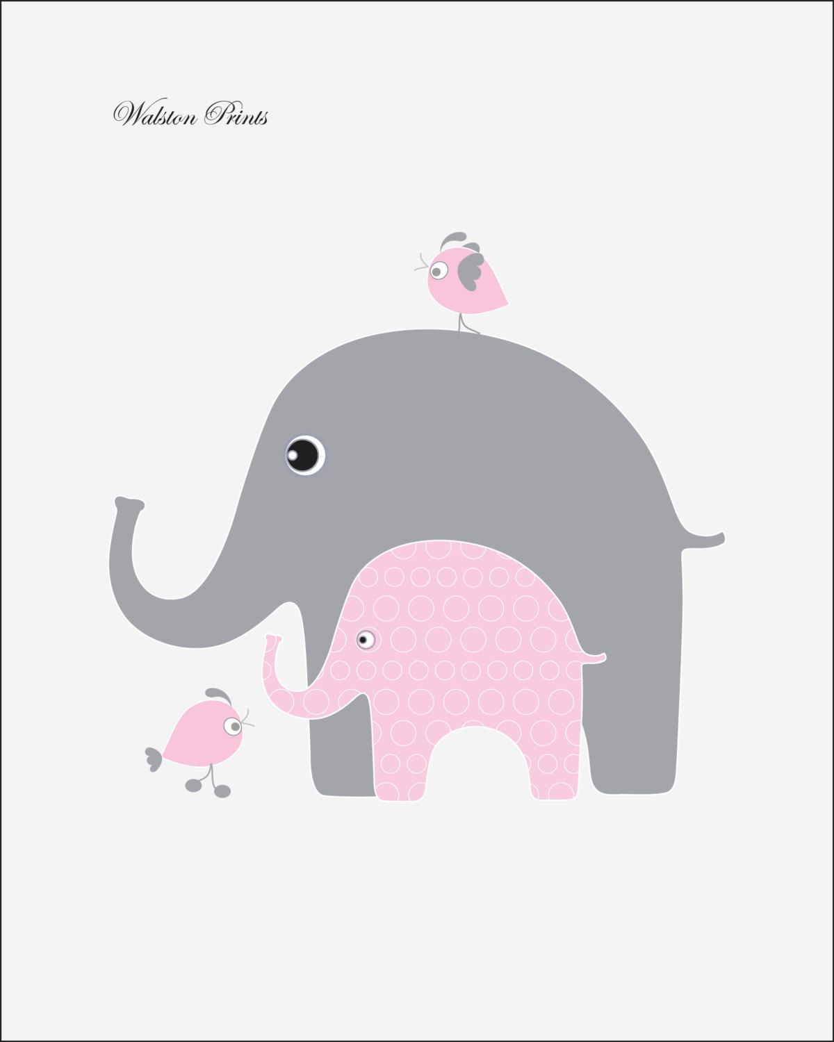 Grey And Pink Living Room Decor: Nursery Art, Pink And Gray Elephant Childrens Art, Kids