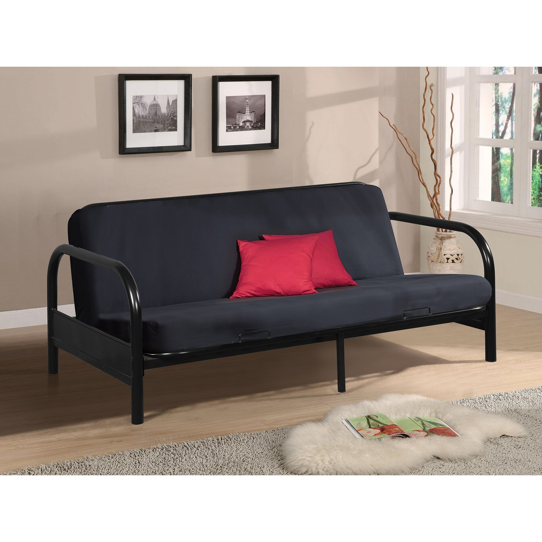 Black Steel Bi Fold Full Size Futon