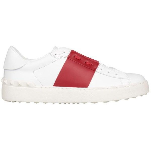 Valentino Garavani Open leather sneakers (€625) ❤ liked on Polyvore featuring shoes, sneakers, rosso, real leather shoes, valentino shoes, white leather shoes, white shoes and rubber sole shoes