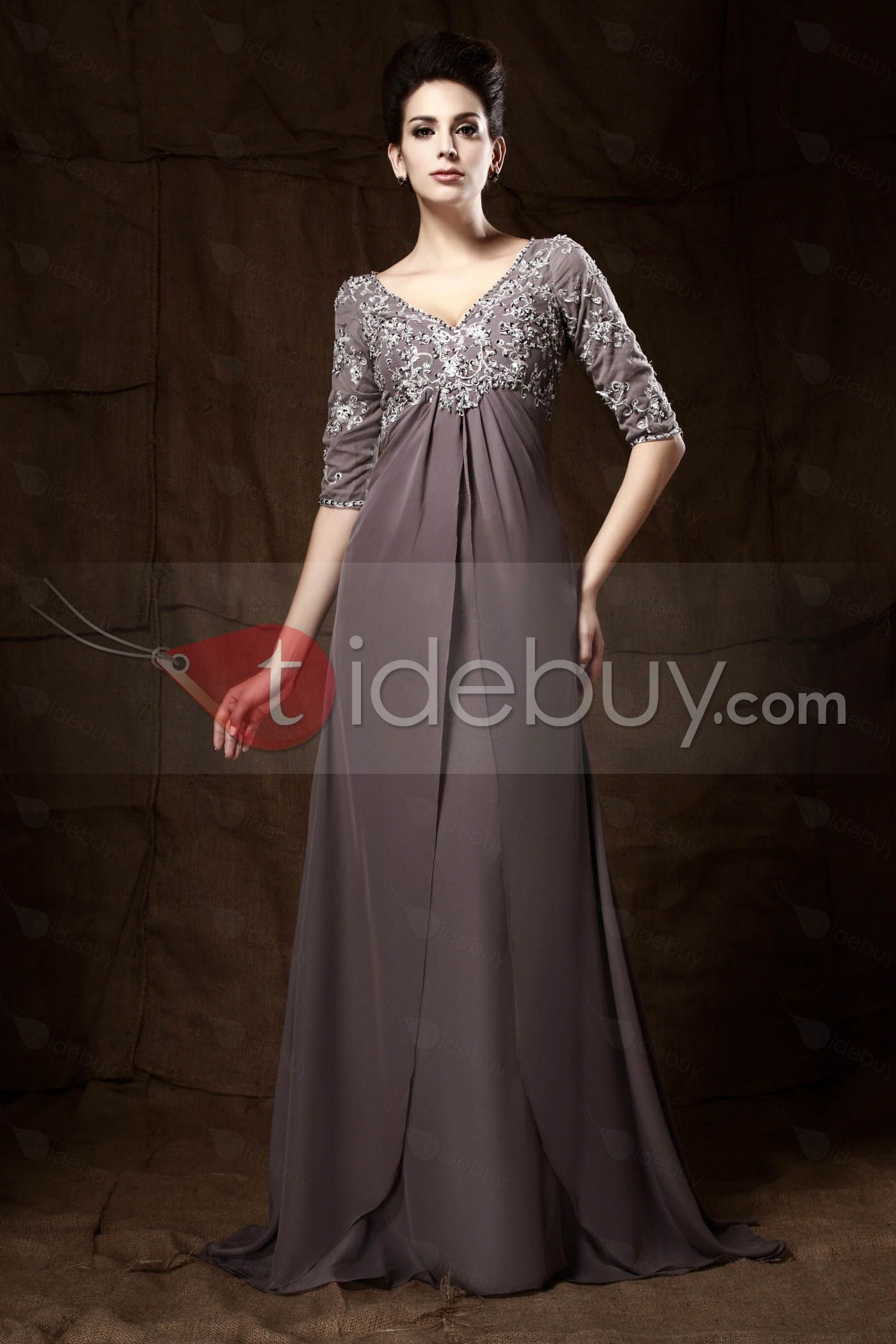 Appliques vneck half sleeves empire waist mother of the bride dress