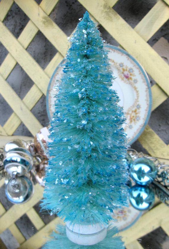 Pretty Vintage Style Aqua Blue Bottle Brush by saturdayfinds