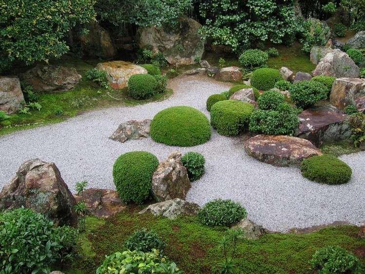 Jardin Zen Moderne En Gravier Décoratif, Buis En Boule Et Rochers