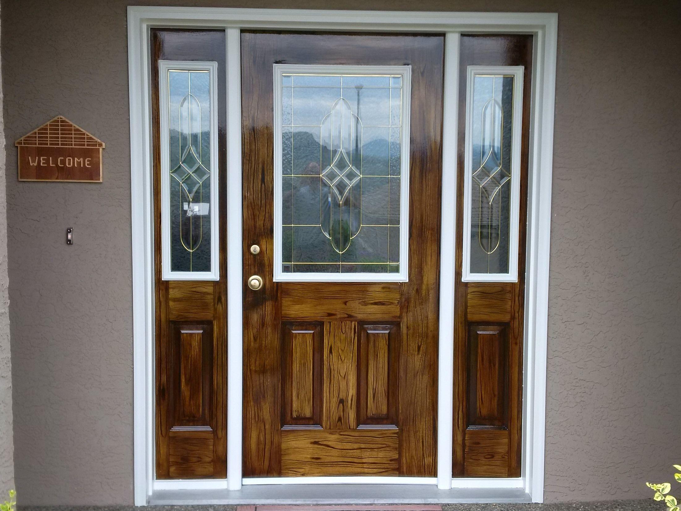 Faux Wood Grain On Metal Door Sidelights 1 Primed 2 Added Grain With Gel Stain Applying With Foam Brush A Painting Metal Doors Metal Door Metal Front Door