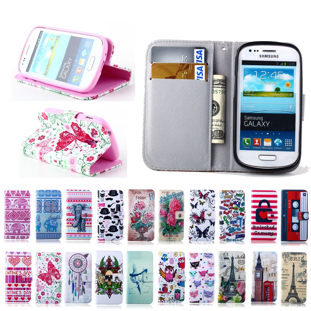 Pu Leather Cute Butterfly Wallet Flip Case Cover For Samsung Galaxy Tpu Style Soft J2 J200 Trend S Duos S7562