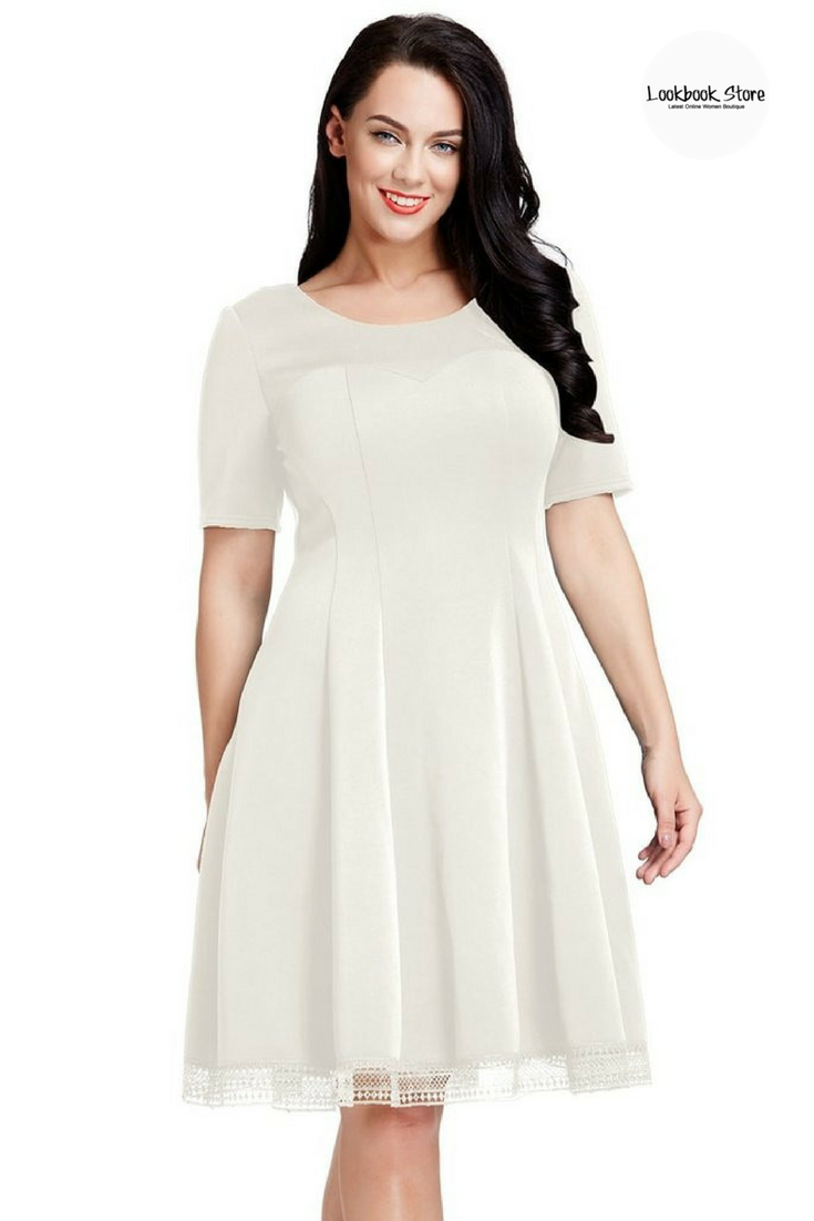 f9eda9bf259f6d What's New // Fascinate all with your charm as you put on this ravishing  plus size off white short-sleeves skater dress.